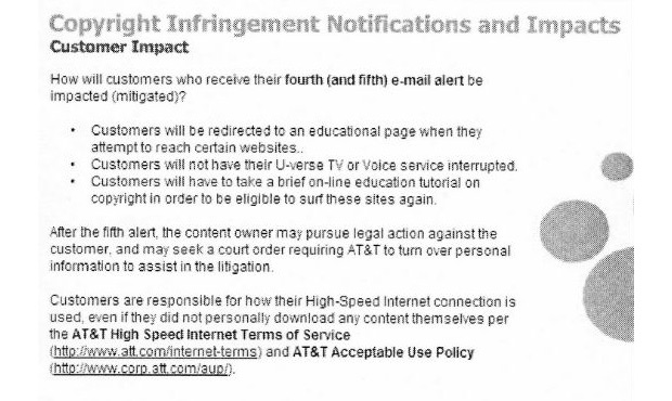 AT&T training document suggests ISPs are gearing up to beat piracy with internet restrictions