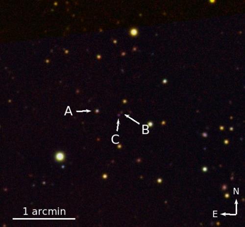 Scientists discover rare quasar triplet