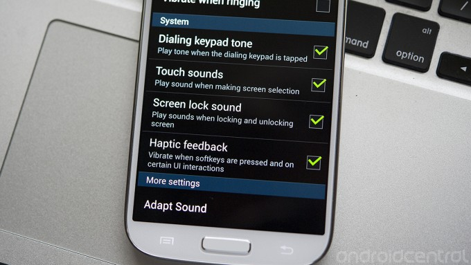 Samsung Galaxy S4 sound settings