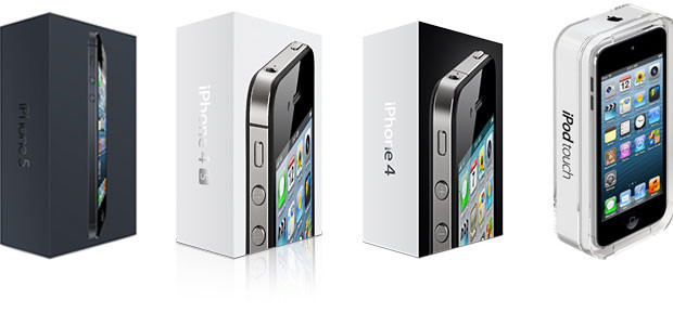 iPhone 5, iPhone 4S, iPhone 4, iPod touch 5 packaging