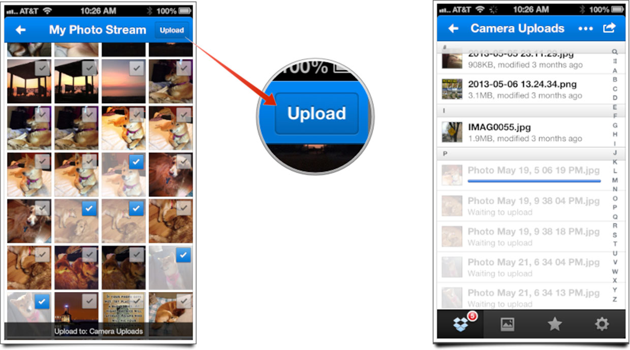 How to upload multiple files at once to Dropbox for iOS