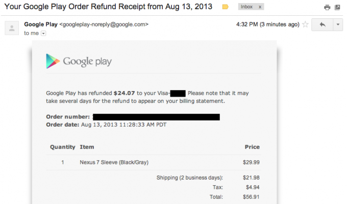 Google play refund email