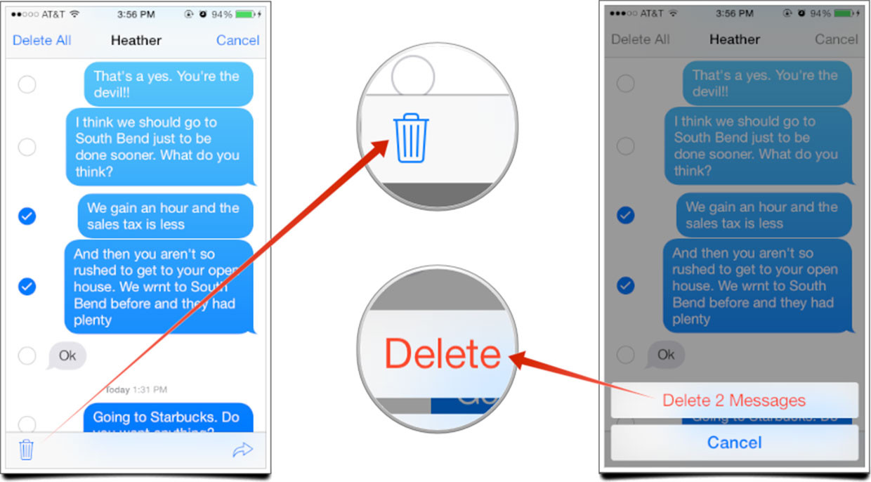 how to delete messages off messenger on iphone 7 plus