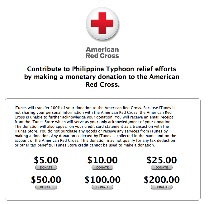 itunes store now accepting donations for philippine typhoon relief aivanet. Black Bedroom Furniture Sets. Home Design Ideas