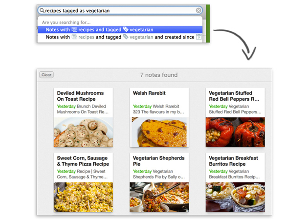 Natural language search on Evernote for Mac