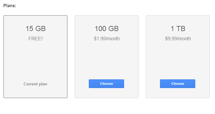Price Drop hits Google Drive Storage, 100GB for $1 99 and 1TB For