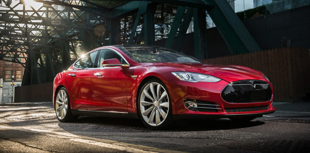 Tesla Model S basking in the sunshine