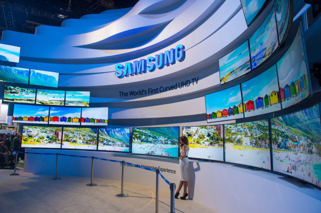 The Samsung booth at the CES show held in Las Vegas