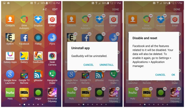 Samsung Galaxy S6 uninstall delete apps