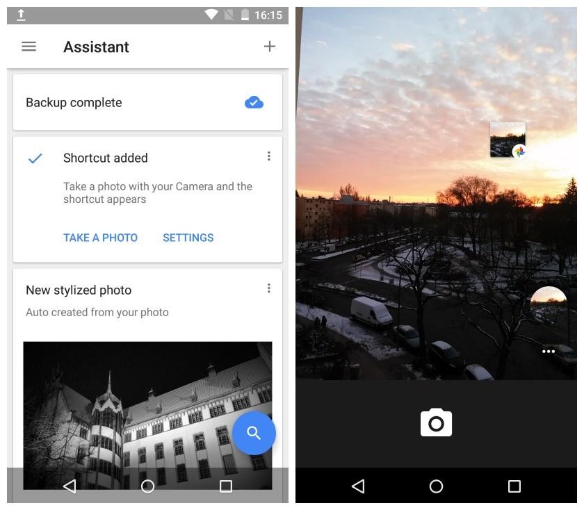 Google Photos camera shortcut in action