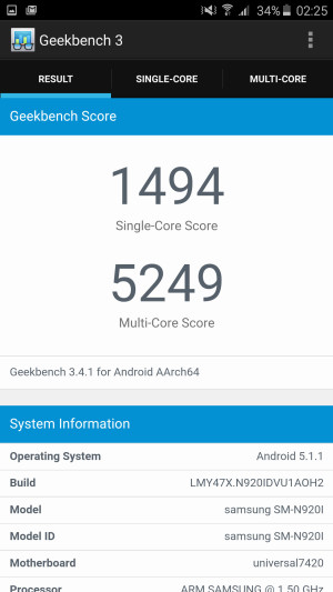 Galaxy Note 5 - Geekbench