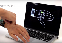 Navigate your smartwatch by touching your skin