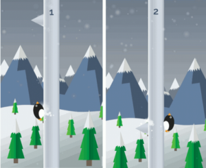 Tap anywhere to jump from one side to the other.