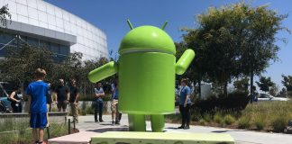 Here's the Android Nougat statue at the Googleplex!