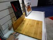 Bamboo cutting board and iPad holder