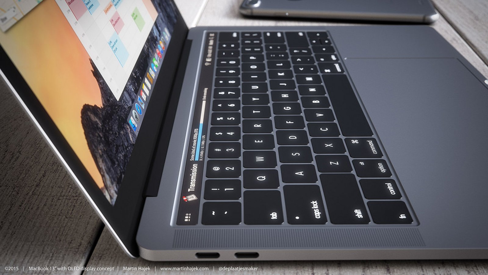 Martin Hajek's conceptual rendering of a MacBook Pro with an OLED touch strip