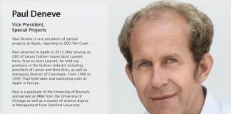 Apple VP of Special Projects Paul Deneve Removed From Leadership Webpage