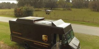 Watch this drone-launching UPS truck send an octocopter on a delivery run