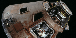The Apollo 11 space capsule is being prepped for another mission
