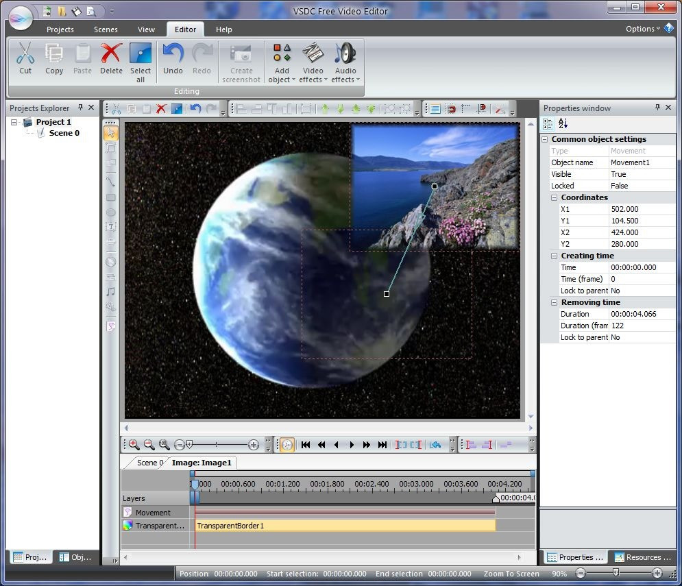VSDC free video editor screen shot