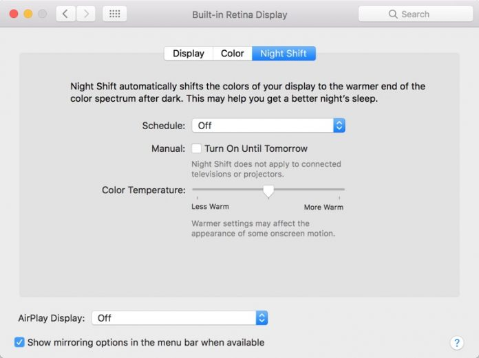 How to Use Night Shift in macOS Sierra 10.12.4