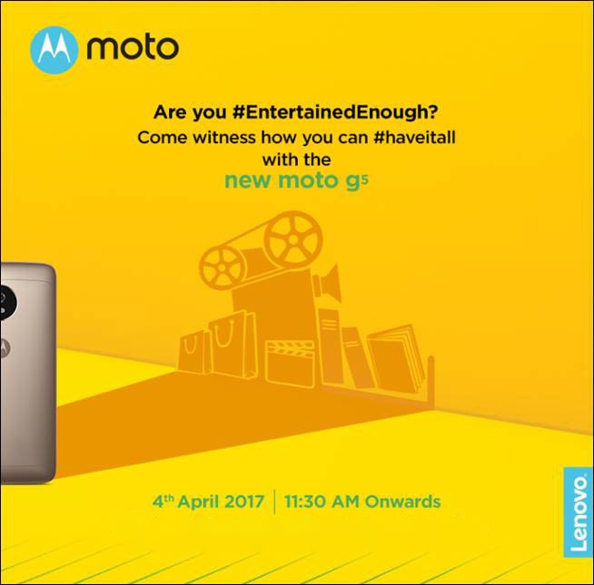 Moto G5 will make its debut in India on April 4