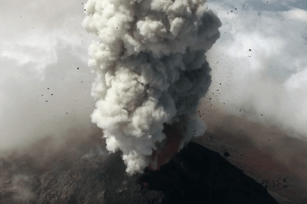 Drone camera peers into an erupting volcano in Guatemala