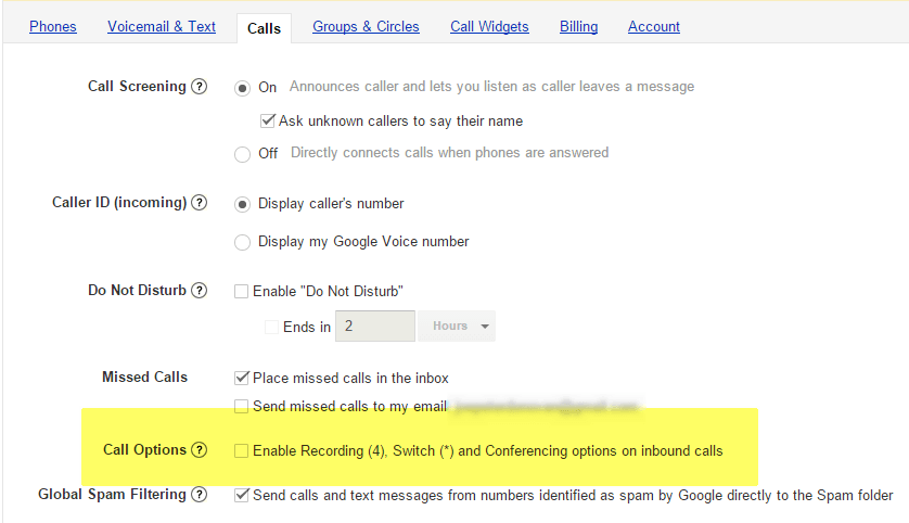 Google Voice Call Options