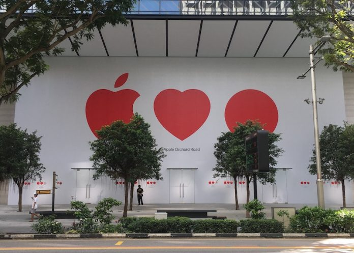 Apple's First Retail Location in Singapore Close to Opening as 'Apple Loves Singapore' Mural Revealed