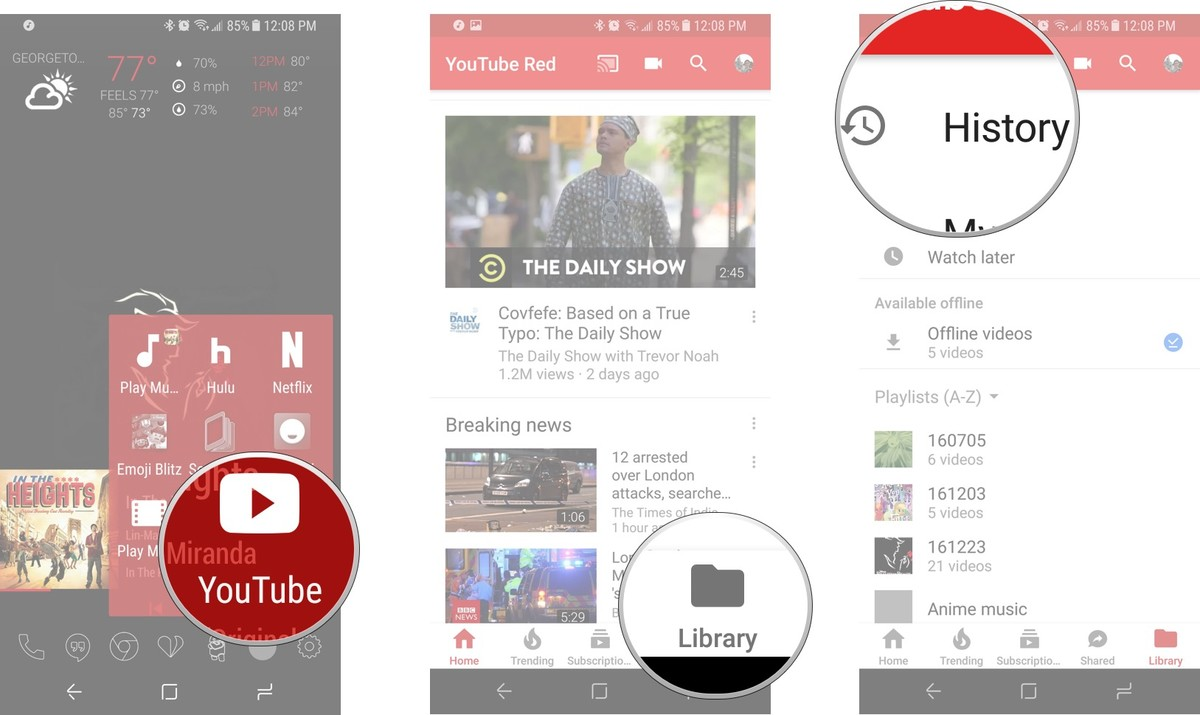 how to clear youtube history on pc