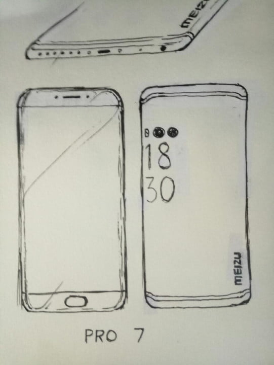 meizu pro 7 news leaked drawing