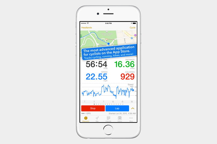 best health and fitness apps for iphone cyclemeter screenshot