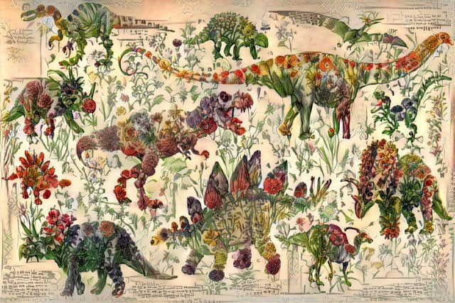 Creative AI makes epic dinosaur art by cleverly arranging pictures of flowers