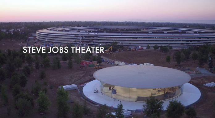 New Apple Park Drone Video Shows Off Steve Jobs Theater as Lobby Lights Up