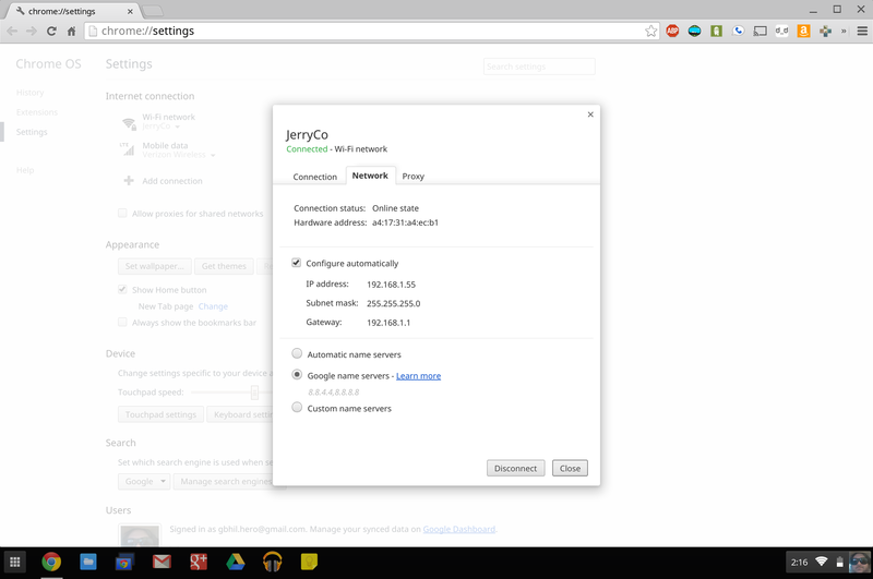 how to change dns on chromebook