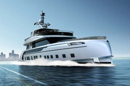 This limited-edition all-aluminum hybrid superyacht has Porsche DNA