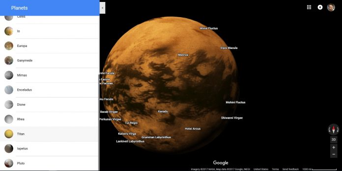 Explore (most of) the solar system in Google Maps