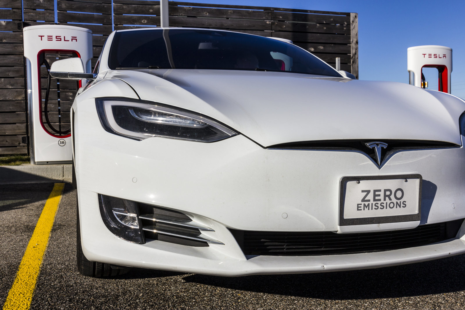 Lafayette, US - December 27, 2016: Tesla Supercharger Station. The Supercharger offers recharging of Model S and Model X electric vehicles XI