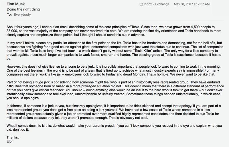 Elon Musk email 5/31/17