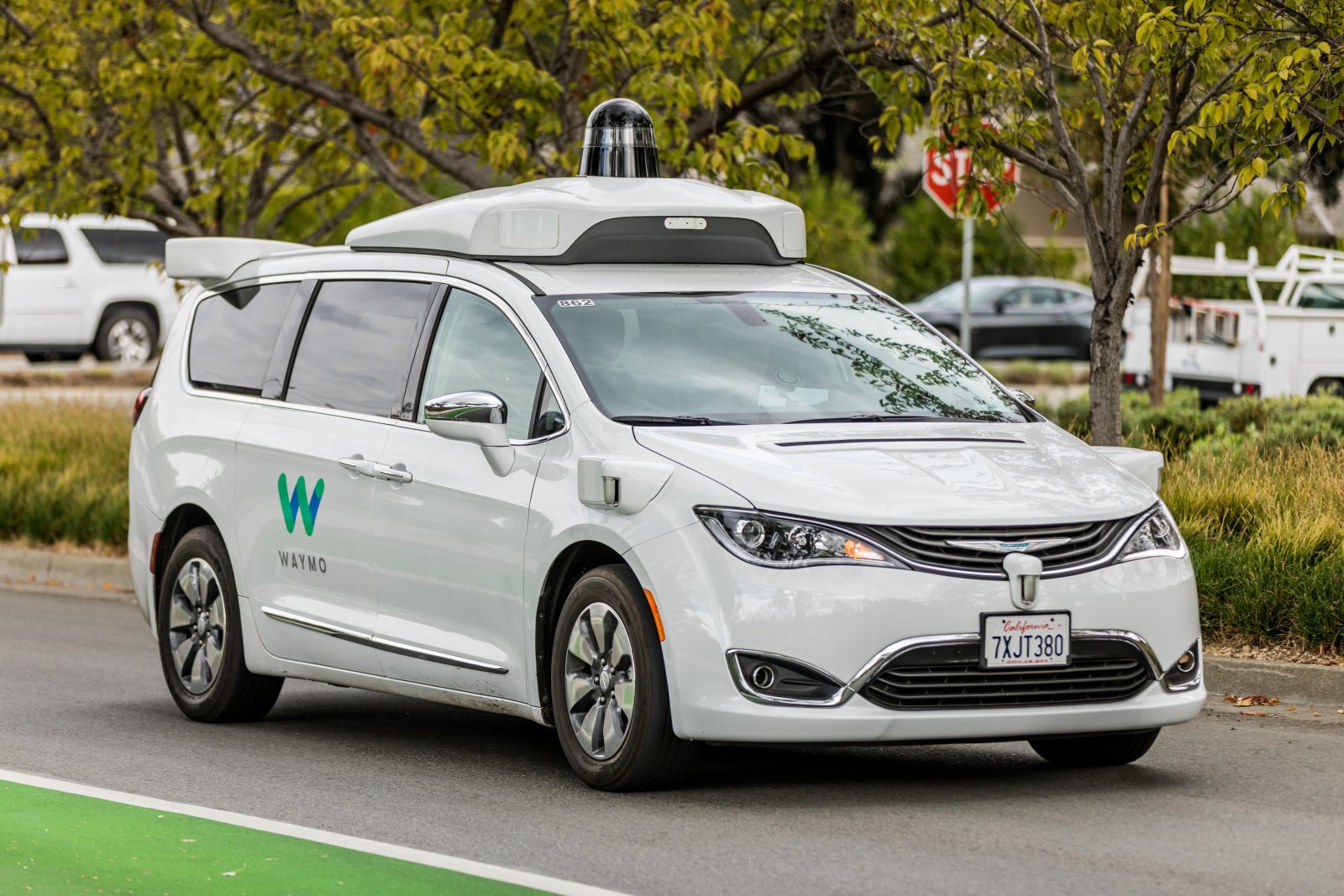 "Mountain View, California, USA - November 3, 2017: .A Waymo, customized Chrysler Pacifica Hybrid, used for Google's autonomous vehicle program near the company""u2019s headquarters in Mountain View, California"