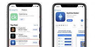 Fake 'MyEtherWallet' App Rises to #3 Spot on the iOS App Store's Finance Charts