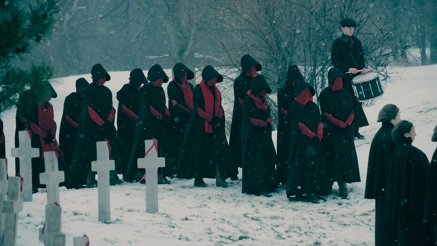 THE HANDMAID'S TALE -- The Emmy-winning drama series returns with a second season shaped by Offredâs pregnancy and her ongoing fight to free her future child from the dystopian horrors of Gilead. âGilead is within youâ is a favorite saying of Aunt Lydia. In Season Two, Offred and all our characters will fight against â or succumb to â this dark truth.(Photo by: Take Five/Hulu)