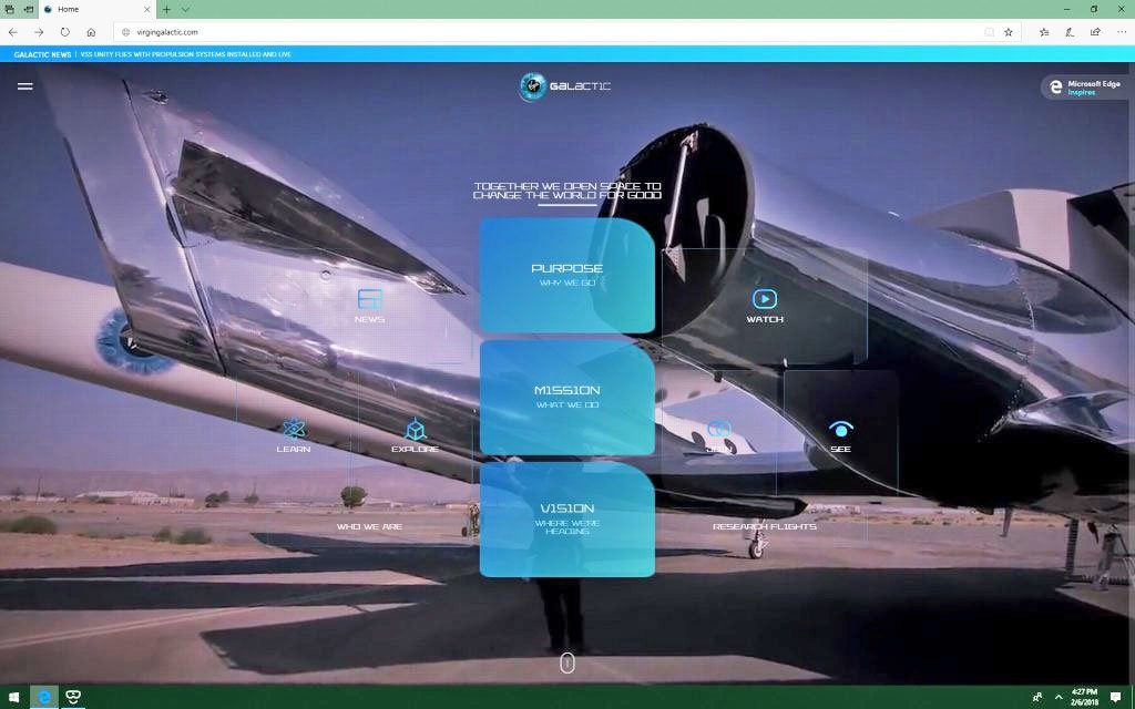 Virgin Galactic's VR-powered website lets you tour its spaceships