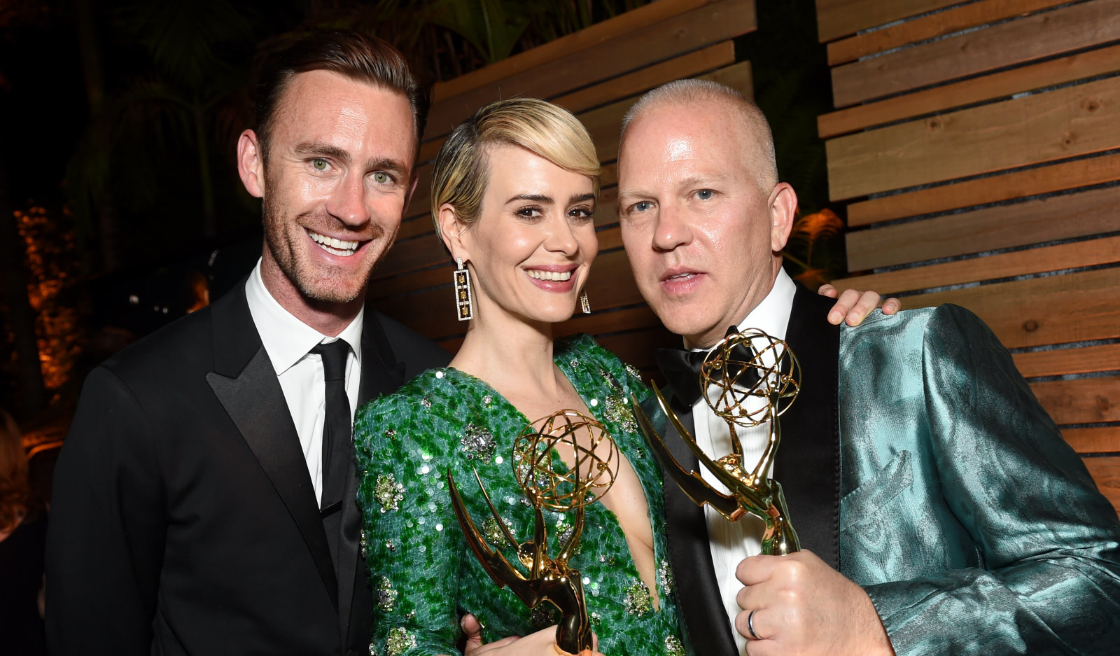 LOS ANGELES, CA - SEPTEMBER 18: Writer John Gray, actor Sarah Paulson and actor Ryan Murphy attends the FOX Broadcasting Company, FX, National Geographic And Twentieth Century Fox Television's 68th Primetime Emmy Awards after Party at Vibiana on September 18, 2016 in Los Angeles, California.  (Photo by Emma McIntyre/Getty Images)
