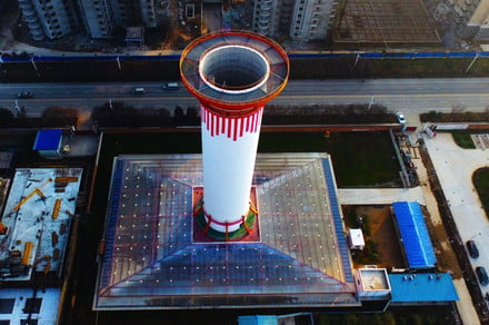 China's giant 200-foot chimney sucks in pollution, spews out clean air