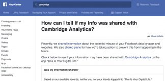 Facebook Launches Help Center Tool to Check if Your Data Was Shared With Cambridge Analytica