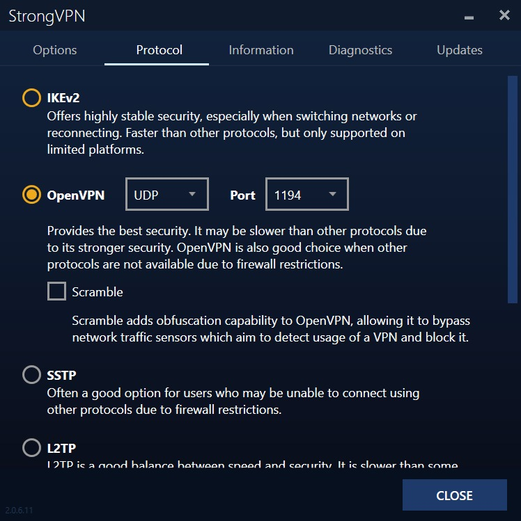 strongvpn review - windows app settings menu