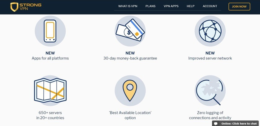 strongvpn review - key features