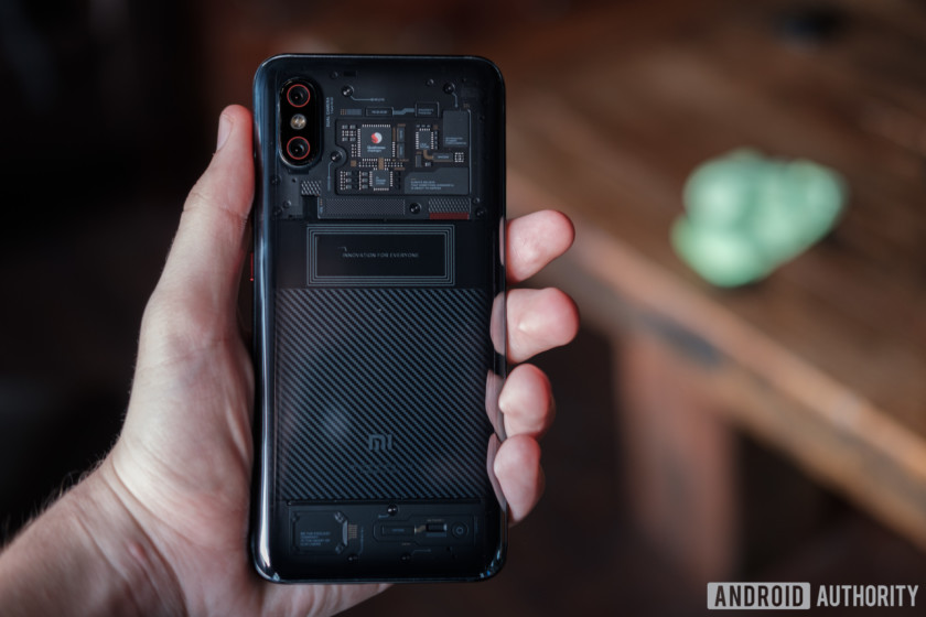 the transparent back of the xiaomi mi 8 explorer edition