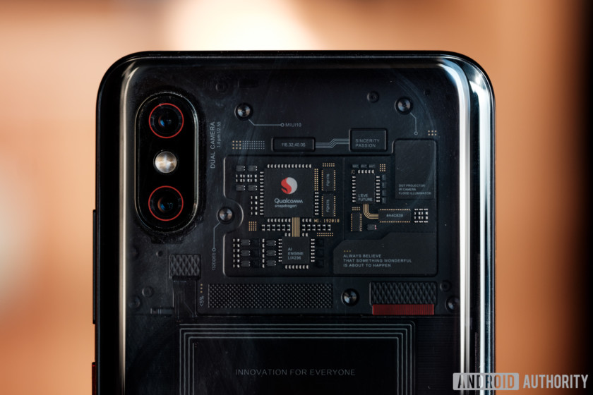 the components seen through the back of the Xiaomi mi 8 explorer edition
